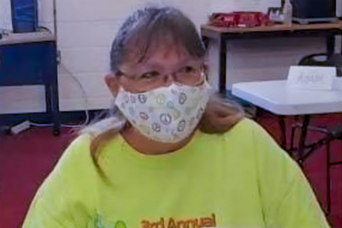 Lynn Chupp wearing one of the masks she made.
