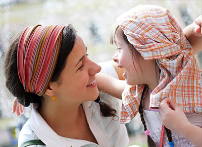 Mother with daughter who has Down Syndrome
